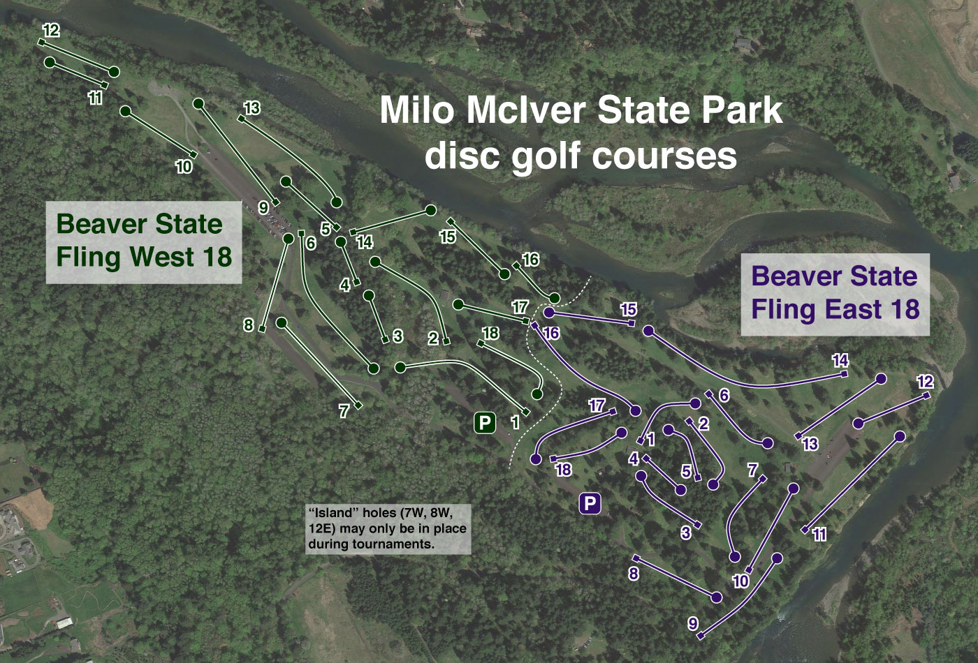 Map of Disc Golf Courses in Oregon